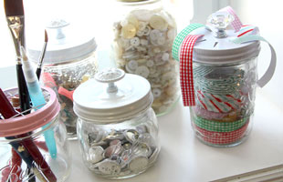 Sweet Mason Jars & Crafting Storage