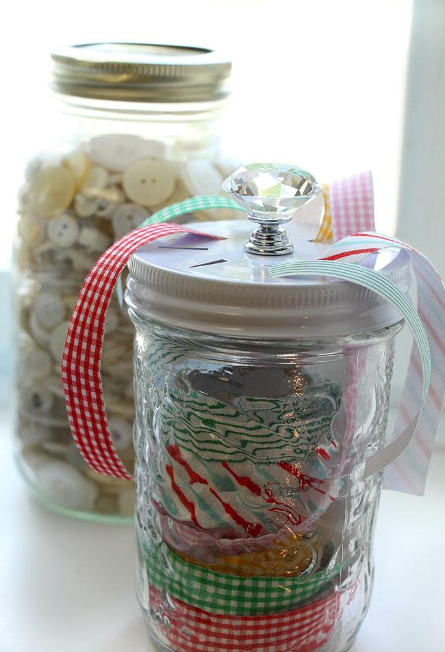 Mason Jar Ribbon Storage