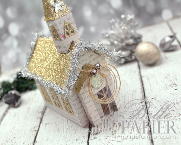 Beacon St. Chapel die by Spellbinders decorated for the holidays. Christmas Gold Glitter church design by Julia Stainton