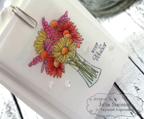 Coloring on Vellum Technique, a floral bouquet design by Julia Stainton for Taylored Expressions