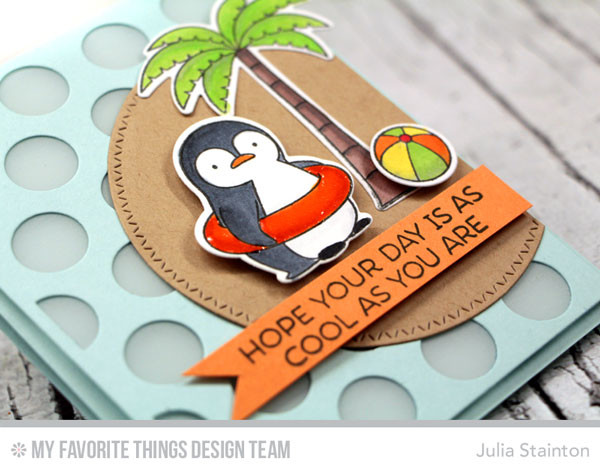 Penguins In Paradise MFT Stamp set cool card by Julia Stainton - great for masculine, kid or summer themes
