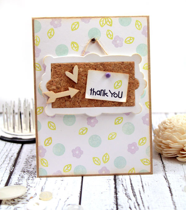 Cork Bulletin Board Thank You Card by Julia Stainton featuring Paper Smooches