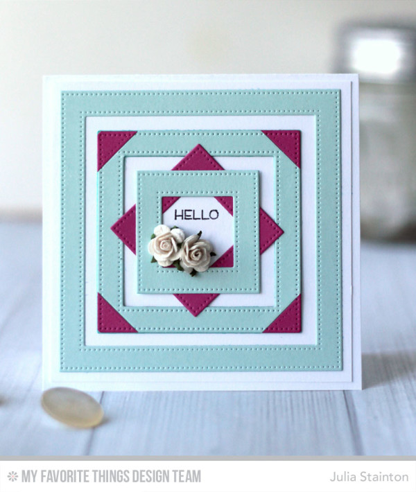 Be Square Hello Card featuring MFT Pierced Square Frames Dienamics by Julia Stainton