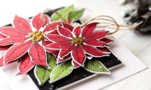 Mondo Poinsettia Christmas Card by Julia Stainton featuring Essentials by Ellen Fall 2015 release