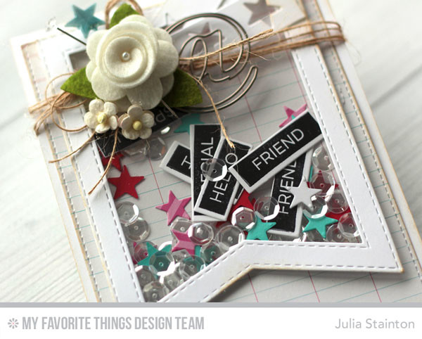 Hello Sweet Friend Lable Shaker Card by Julia Stainton with MFT STamps