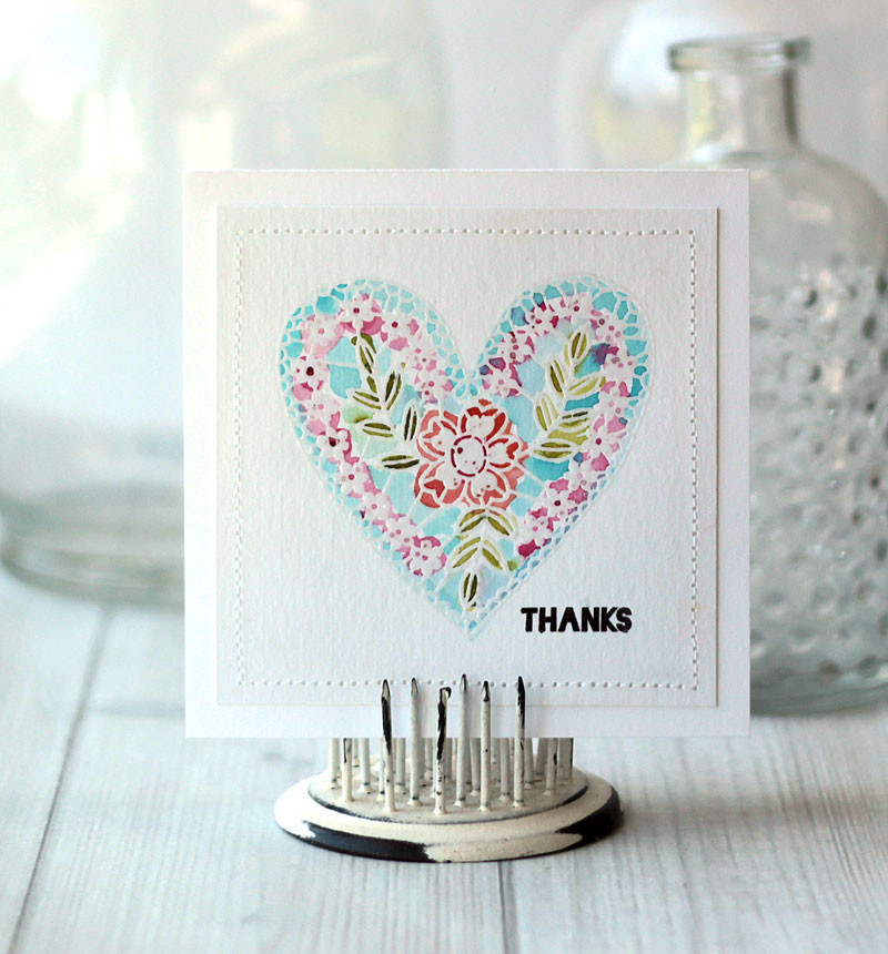 Heartful Thanks WAtercolor Card by Julia Stainton featuring Cath Edvalson stamps