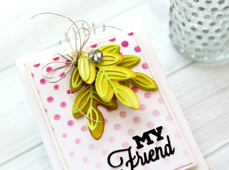 Leafy Friendship Card by Julia Stainton featuring Cath Edvalson dies