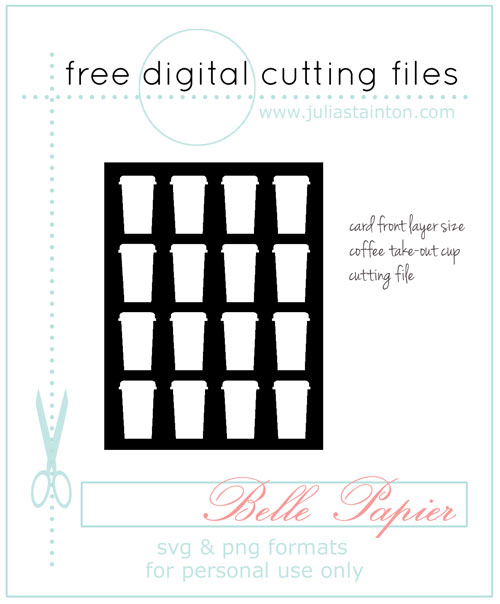 Coffee Cup Card Front Free Digtial Cutting File by Julia Stainton