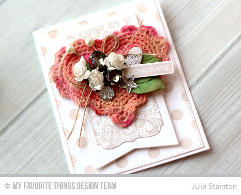 Watercolored Doily Wedding Congrats Card by Julia Stainton