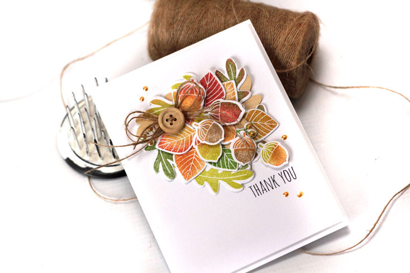 Autumn Acorns Thank You Card by Julia Stainton
