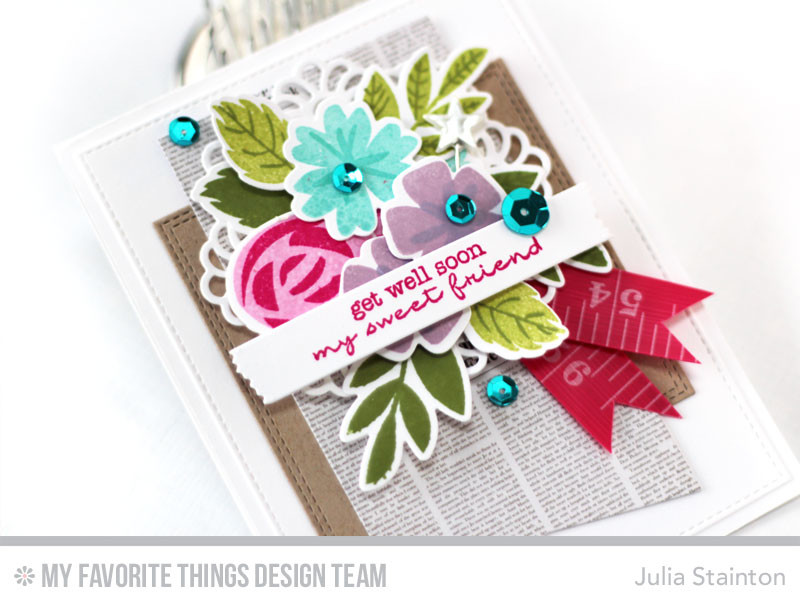 Get Well Bouquet Card by Julia Stainton featuring MFT Stamps Modern Blooms