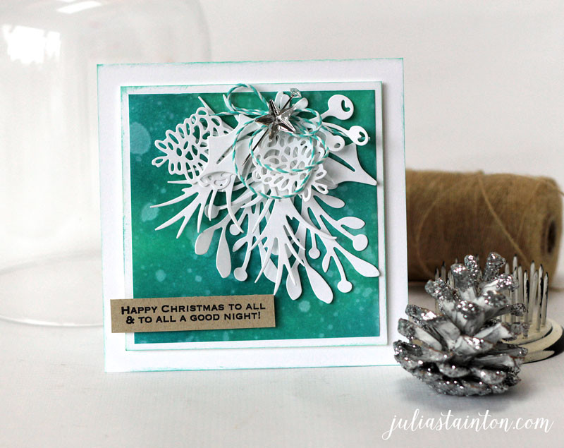 Poinsettia and Pine Christmas Card by Julia Stainton