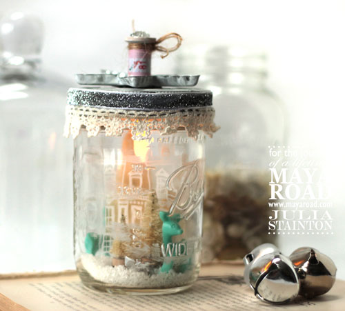 Mason Jar Snow Globe Christmas with Lights by Julia Stainton