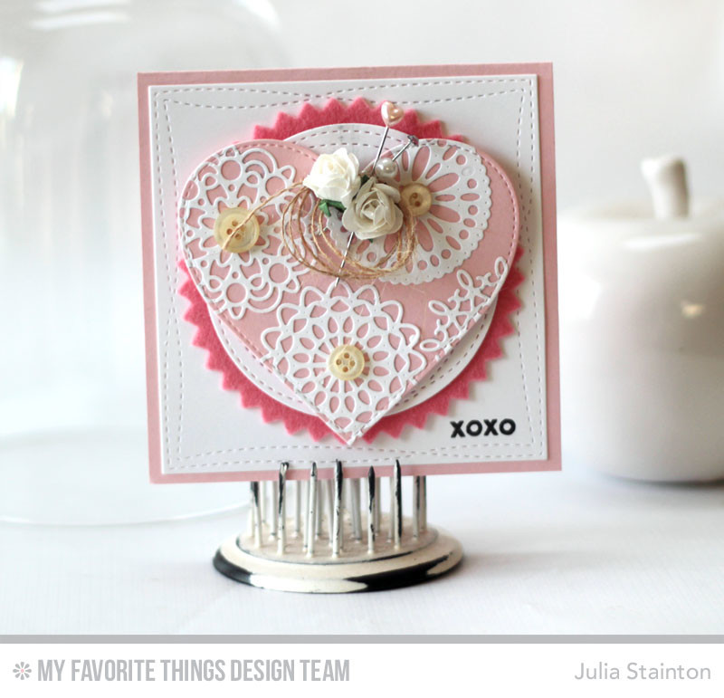Doily Heart Die Cut Valntine Card by Julia Stainton