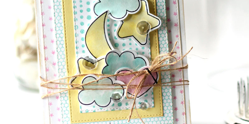 Sweet Dreams Baby Card by Julia Stainton featuring MFT Stamps