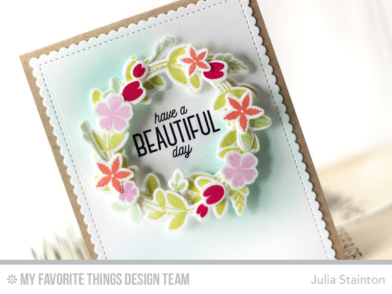 Beautiful Day Spring Wreath Card by Julia Stainton featuring MFT Stamps