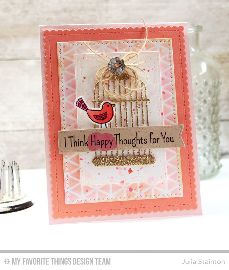 Tweet Bird Thinking of You Card using watercolor and stenciling techniques by Julia Stainton - stamps and dies by MFT Stamps