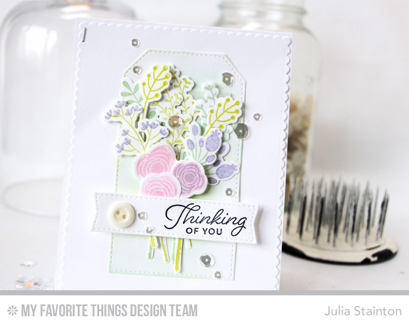 Stamped Flowers Bouquet Card by Julia Stainton featuring MFT Stamps Beautiful Blooms stamp and die cutting sets