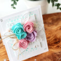 Rolled Felt Roses Card by Julia Stainton