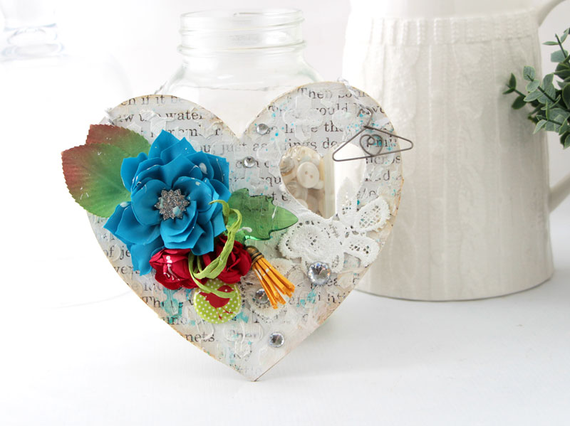 Mixed Media Heart Wall Hanging Art by Julia Stainton featuring texture paste and the Maya Road Vintage Beauty Mini Album Kit