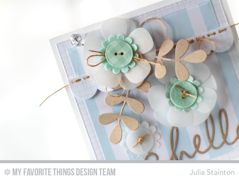 Button Blueprints Hello Card by Julia Stainton featuring MFT Stamps