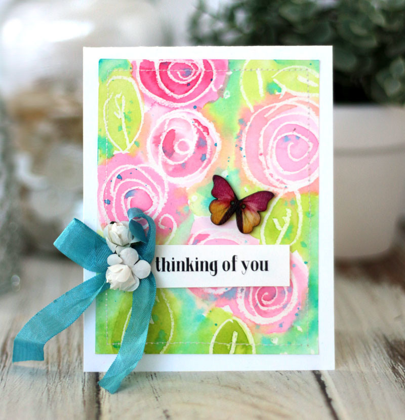 Watercolor scribble Roses Wax Resist Card by Julia Stainton featuring the Color Your World Kit by Maya Road Kits