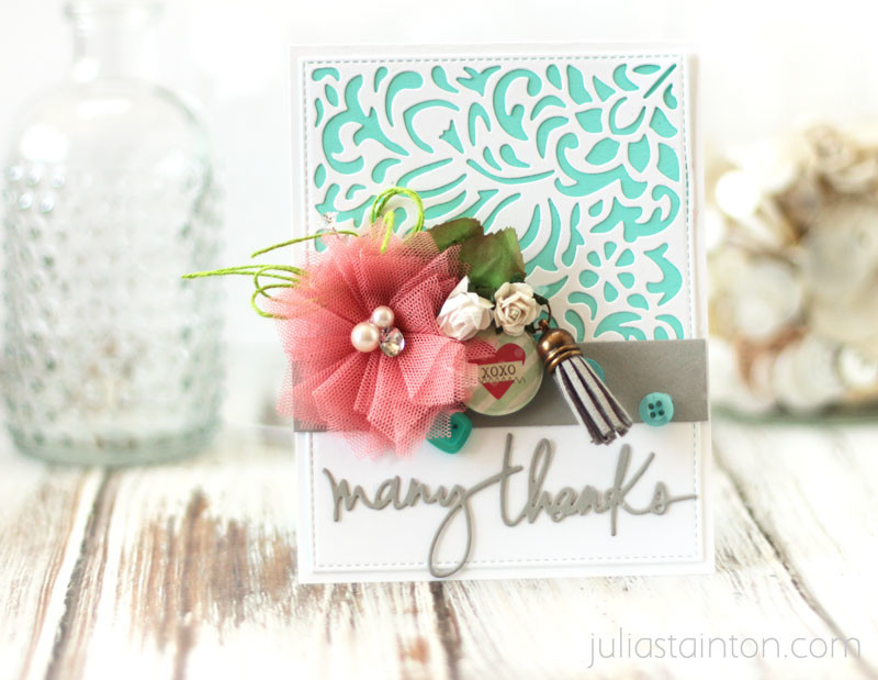 Many Thanks Bold Lace Die-Cutting Card by Julia Stainton featuring Taylored Expressions, Maya Road & Essentials by Ellen