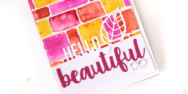 Hello Beautiful Watercolor Card by Julia Stainton featuring MFT Stamps