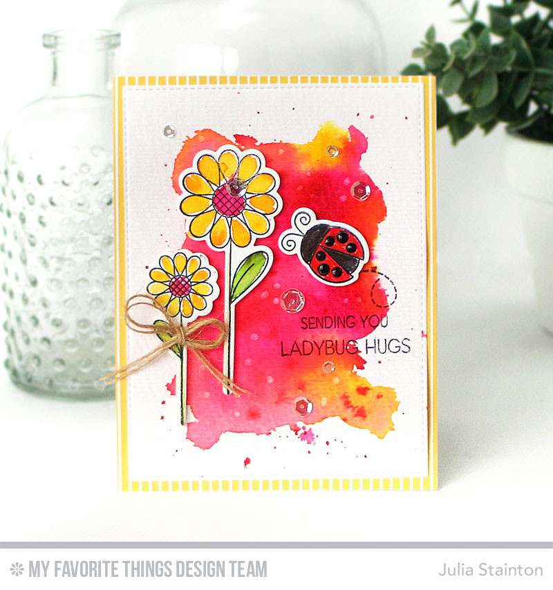 Watercolor Card featuring Fly-By Friends Stamp and Die-namics by MFT Stamps