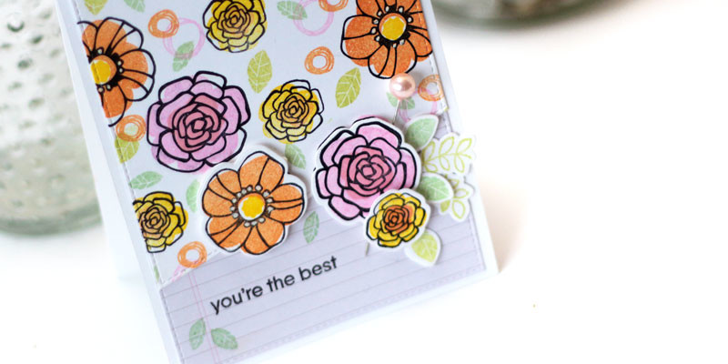 You're the Best Card by Julia Stainton featuring Pretty Posies by MFT Stamps