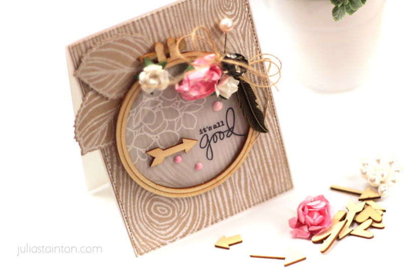 Natural Woodgrain Hydrangea Card by Julia Stainton featuring stamping and embroidery hoop detail