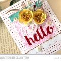 Stamped Hello Roses Die-Cut Card by Julia Stainton featuring sketch challenge MFTWSC280 from MFT Stamps