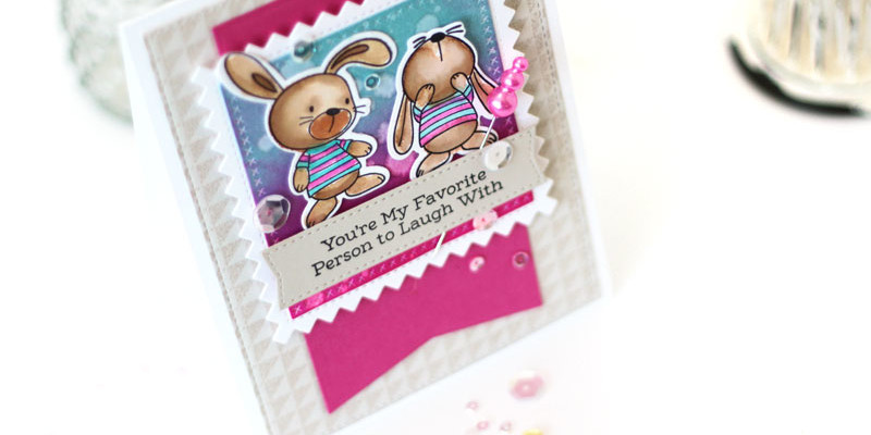 Snuggle Bunnies Watercolor Card by Julia Stainton featuring MFT Stamps May Release