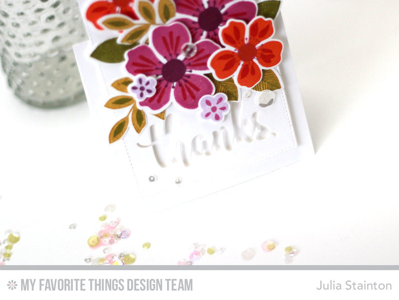 Flashy Florals Thank You Card by Julia Stainton featuring MFT stamps
