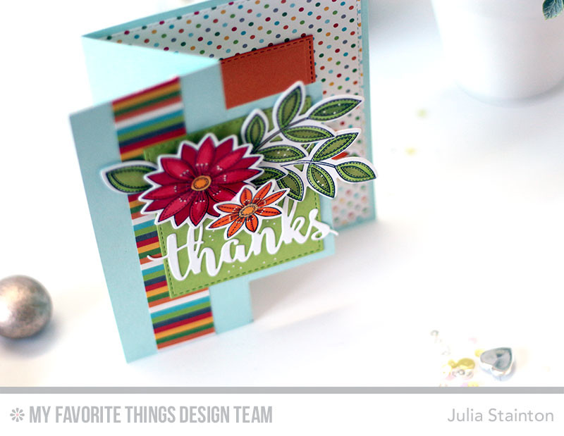Funky Flowers Rectangle Flop Card by Julia Stainton featuring MFT Stamps June Release stamps and die-namics plus Copic Markers