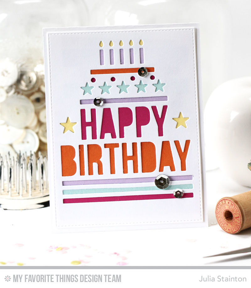 Happy Birthday Centerpiece Card by Julia Stainton featuring MFT Stamps July Release