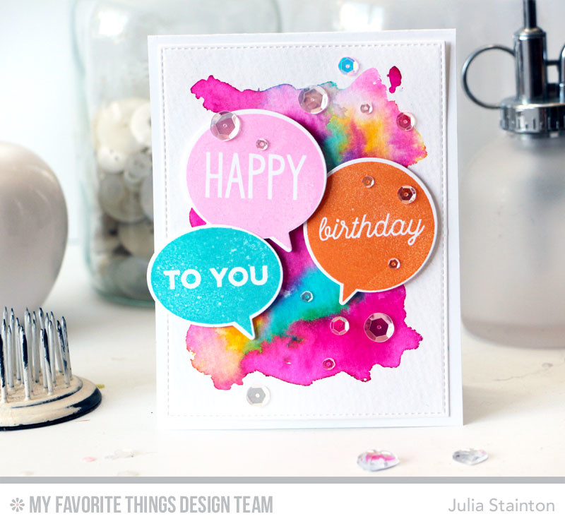 Speech Bubble Birthday Watercolor Card by Julia STainton featuring MFT Stamps