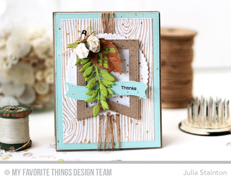 Natural Woodgrain Thanks Card by Julia Stainton featuring MFT Stamps and sketch challenge MFTWSC284