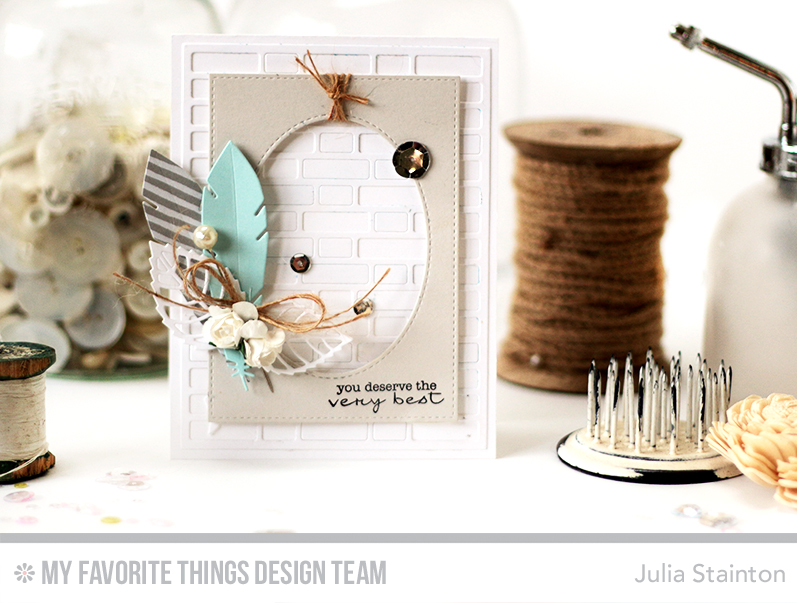 Feather Die Cut Card by Julia Stainton featuring MFT Stamps & MFTWSC283