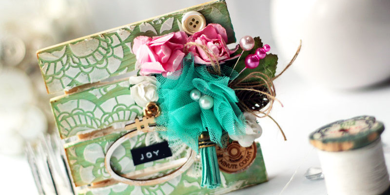 Mini Wood Pallet Altered Art Mixed Media Project by Julia Stainton featuring Maya Road