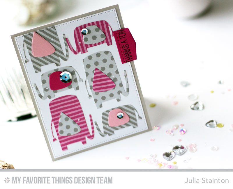 Thanks a Ton Elephant Card by Julia Stainton featuring MFT Stamps
