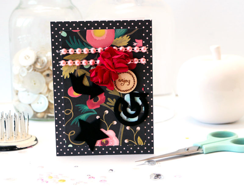 Enjoy Floral Card by Julia Stainton featuring Maya Road Follow Your Bliss Card Kit