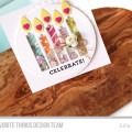 Celebrate Birthday Candle Shaker Card by Julia Stainton featuring MFT Stamps