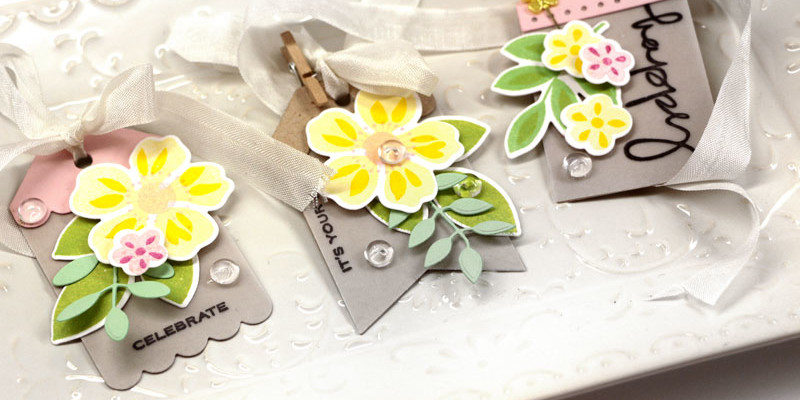 Birthday Tags Die-namics by Julia Stainton featuring Blueprints Tags and Flashy Florals