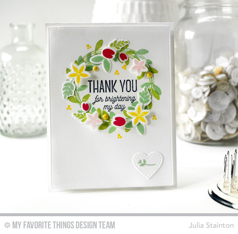 Create a card with LED lights! Brighten my day wreath card by Julia Stainton featuring MFT Stamps