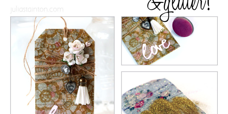Stencils and Glitter, a wedding tag by Julia Stainton featuring the burnished velvet technique with a spin