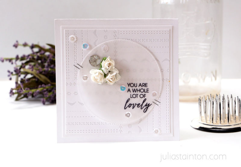 Lovely Stitching Lines Card by Julia Stainton featuring Ellen Hutson LLC Essentials by Ellen