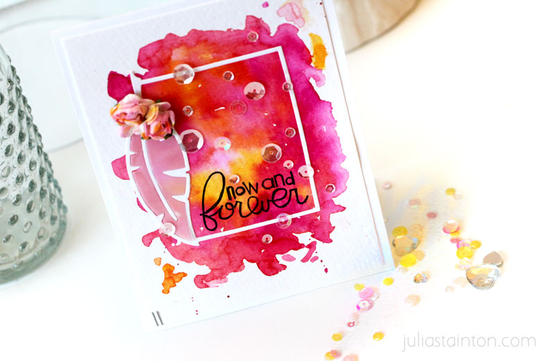 Now and Forever Watercolor Card by Julia Stainton featuring Paper Smooches Stamps and Dies