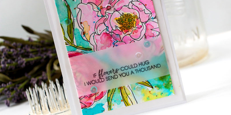 Watercolor Peonies Card by Julia Stainton featuring Essentials by Ellen from Ellen Hutson LLC