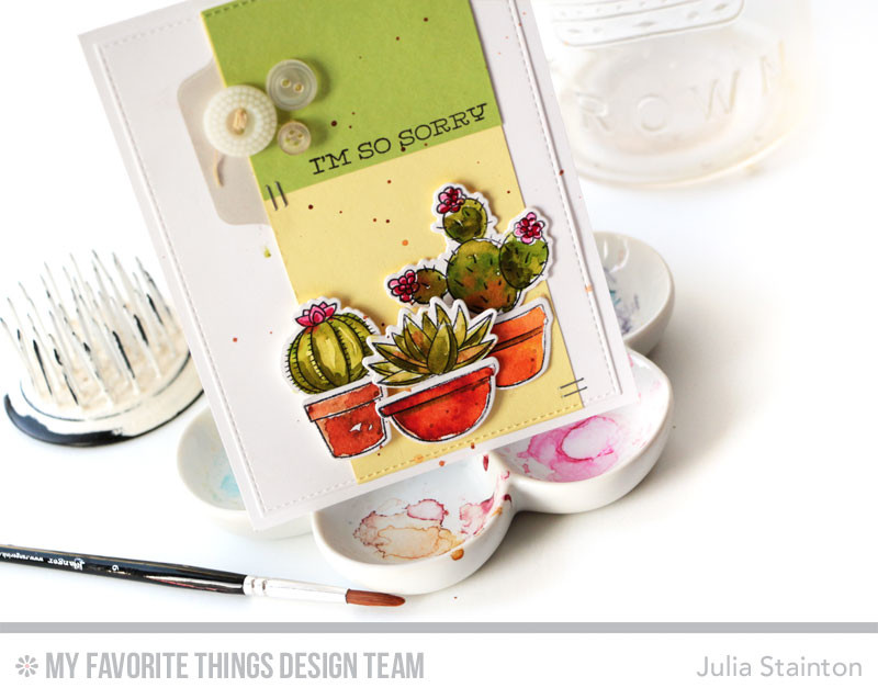 Watercolor Succulent So Sorry Card by Julia Stainton featuring MFT Stamps and sketch challenge